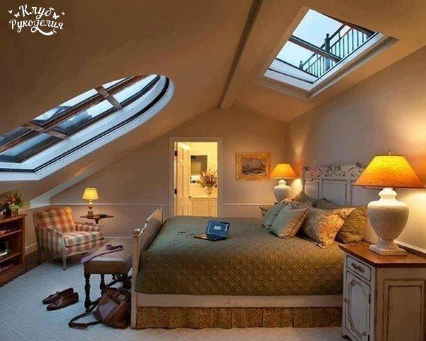 Уютная спальня под крышей (1 фото) - картинка