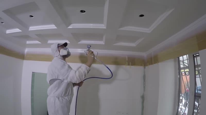 Качественная покраска потолка из гипсокартона !