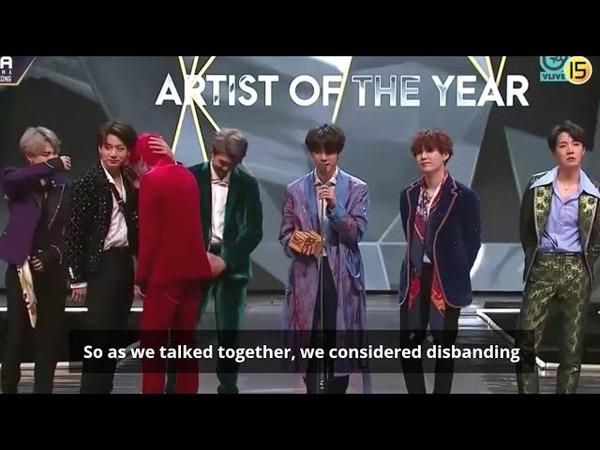 [Eng Sub] BTS MAMA 2018 Artist of the Year Award Full Speech {Hong Kong}