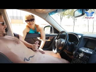 Cute blonde gives me nice handjob in public street and milk