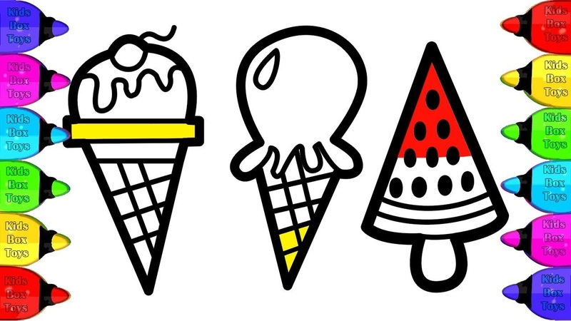 Making 3 Glitter Ice Cream Draw Learn Colors For Kids Coloring Pages | Coloring Ice Cream