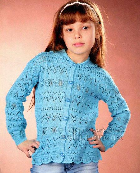 Голубой жакет для девочки вязаный спицами…. (2 фото) - картинка