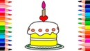 Birthday Cake Coloring and Drawing for kids   How to Draw Surprise Birthday Cake for children