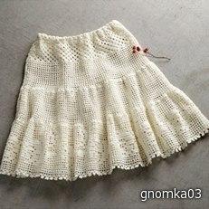 Белая филейная юбка (3 фото) - картинка