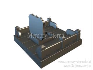 3d макет мемориального комплекса с фигурной стелой.
