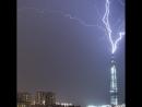 Удар молнии в здание Лахта центра