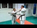 DrobyshevskyKarateSystem:BASSAI DAI-Bunkai Kumite-14-Back Step Awase Hikite-Stick Disarm