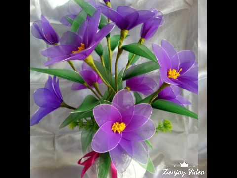 Làm hoa bằng vải voan (vườn hoa của mẹ) 😊