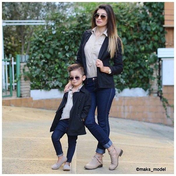 стильные мама и сын