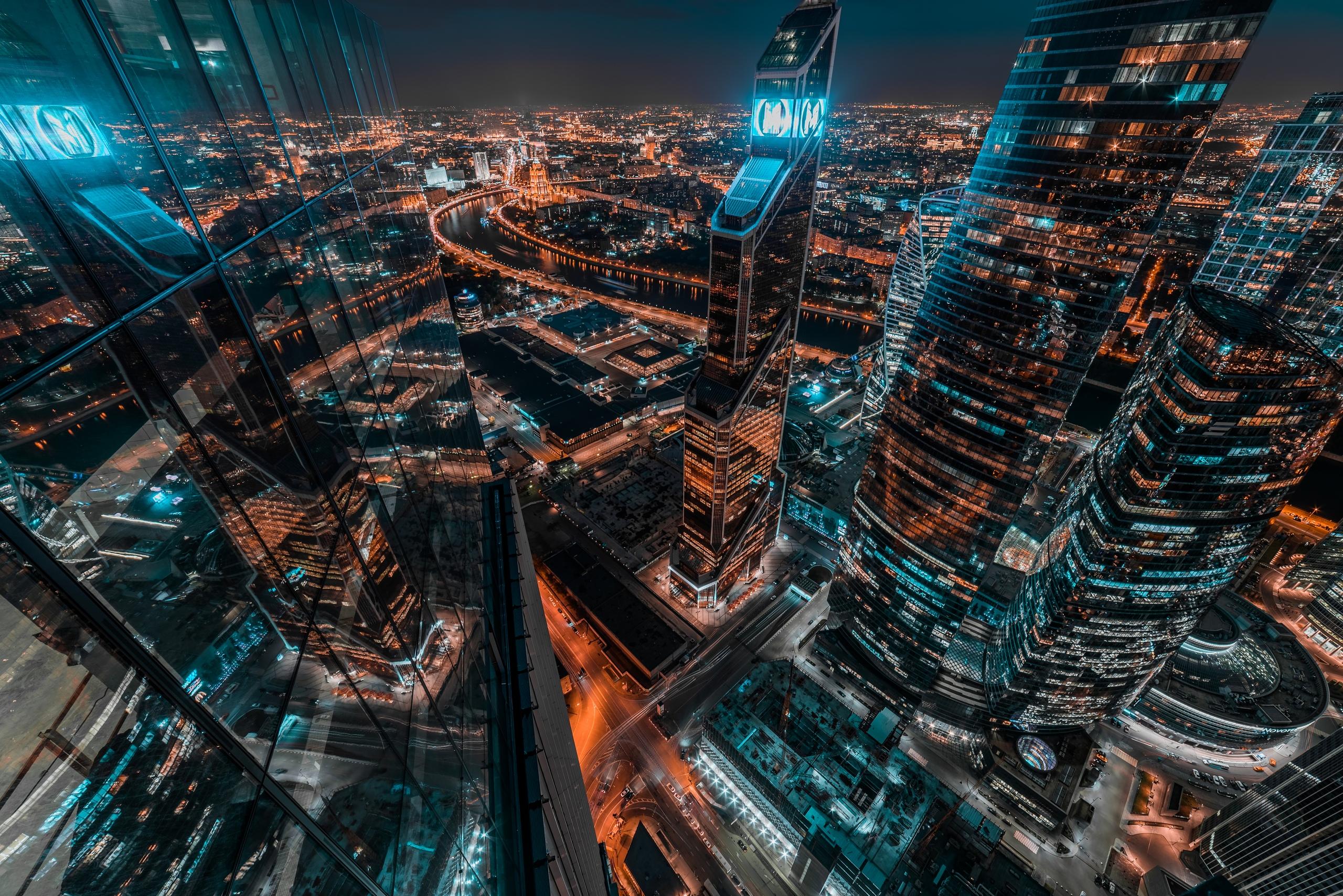 Вид на сити с 73 этажа башни Neva
