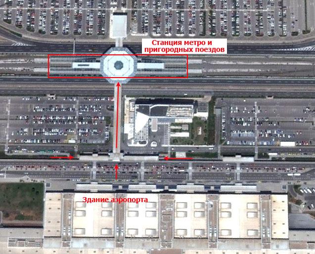 Расположение станции метро и пригородных поездов в аэропорту Афин (вид со спутника)