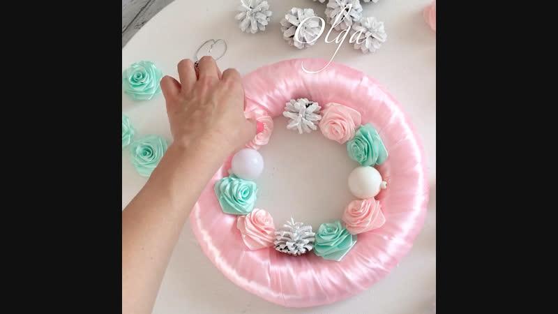 Мастер-класс. Новогодний веночек. Розовый с тиффани.