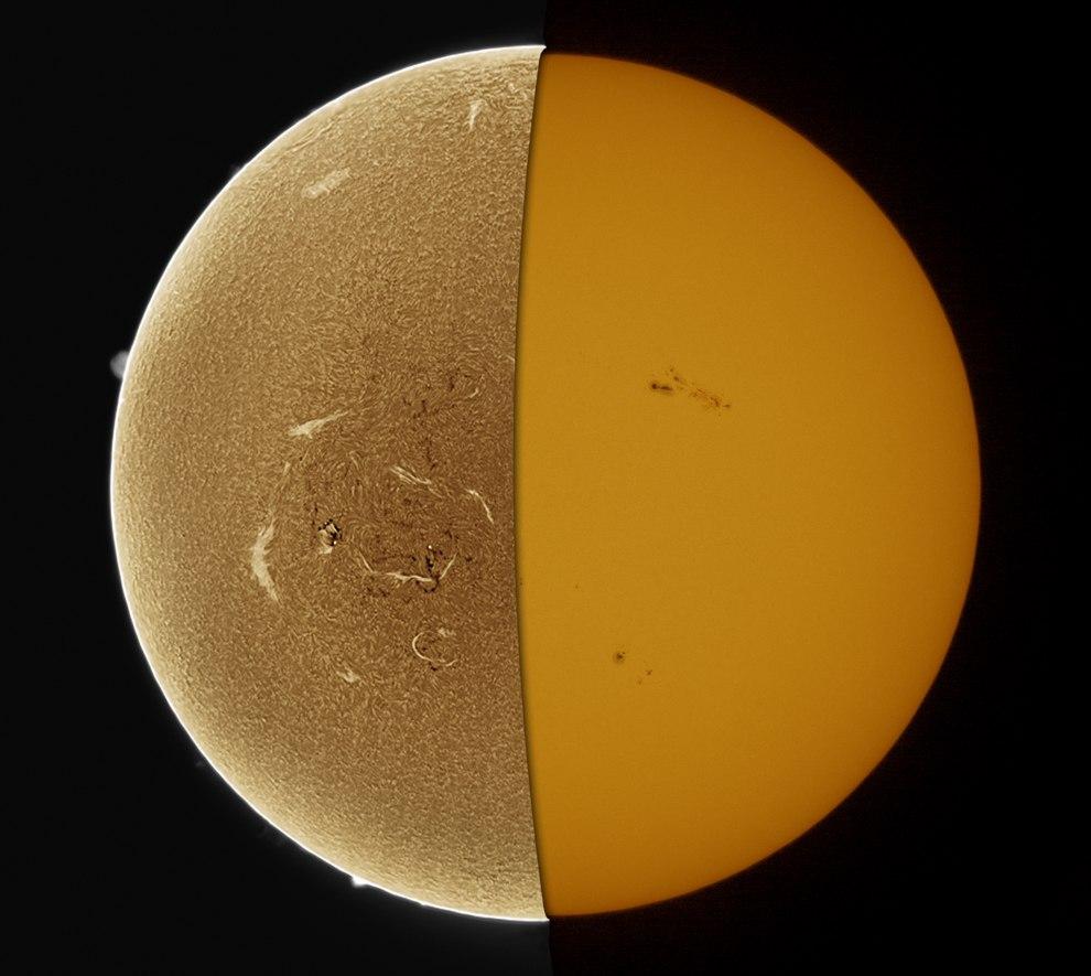 Хромосфера и фотосфера Солнца.