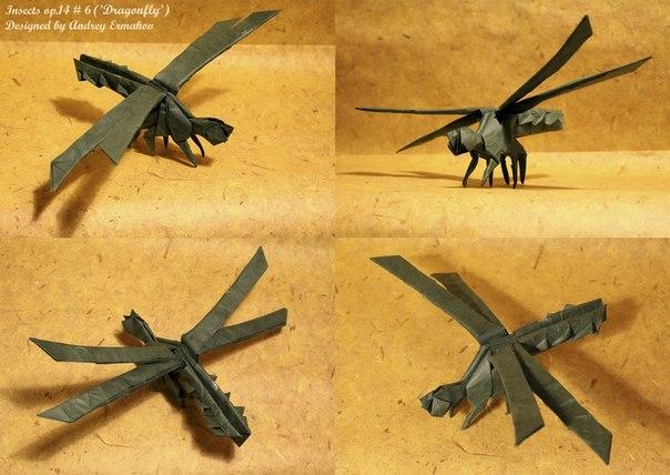 Оригами стрекоза от @anermak.