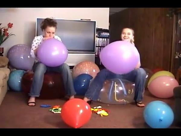 2 Girls Blow to Pop Balloons