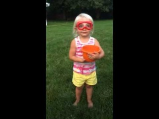 My 2 year old's ice bucket challenge to Dora The Explorer and Barbie