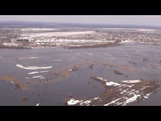 Паводковая ситуация (11.04.2013) (видео с вертолёта МЧС Беларуси)