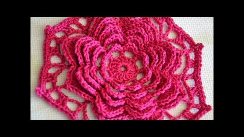 Мотив с многослойным цветком. Объемный цветок крючком. 3D Multilayer Flower Block