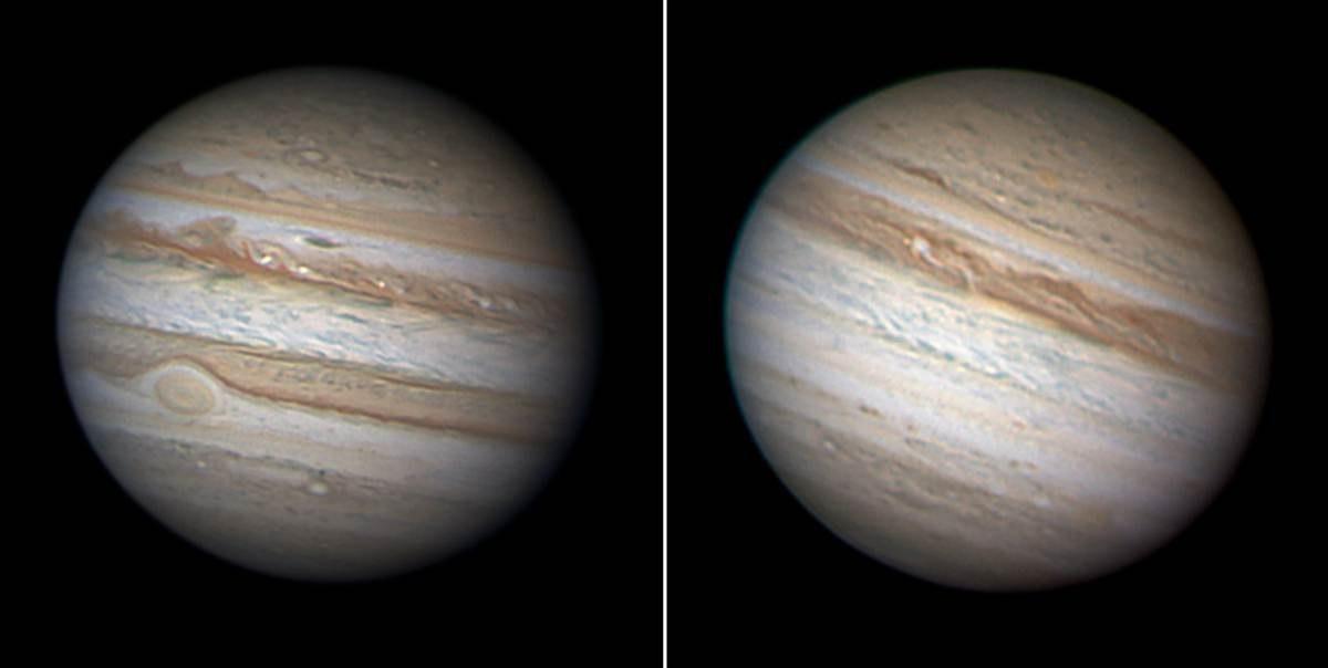 Юпитер с разницей в 1 год