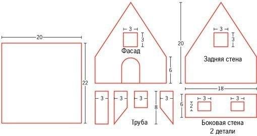 Схемы новогодних домиков из картона своими руками