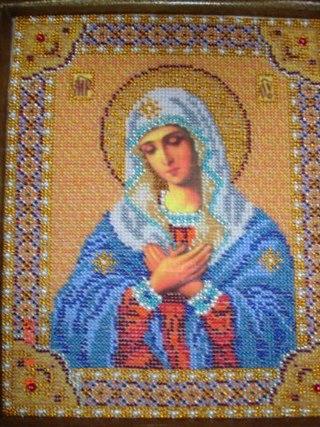 Подборка икон Божией Матери вышитых бисером.