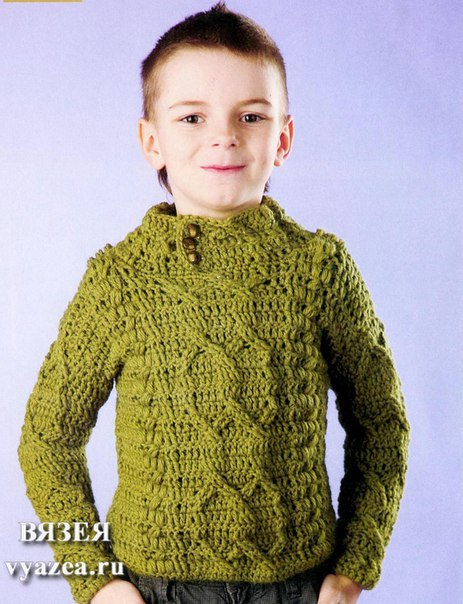 Пуловер для мальчика крючком (2 фото) - картинка