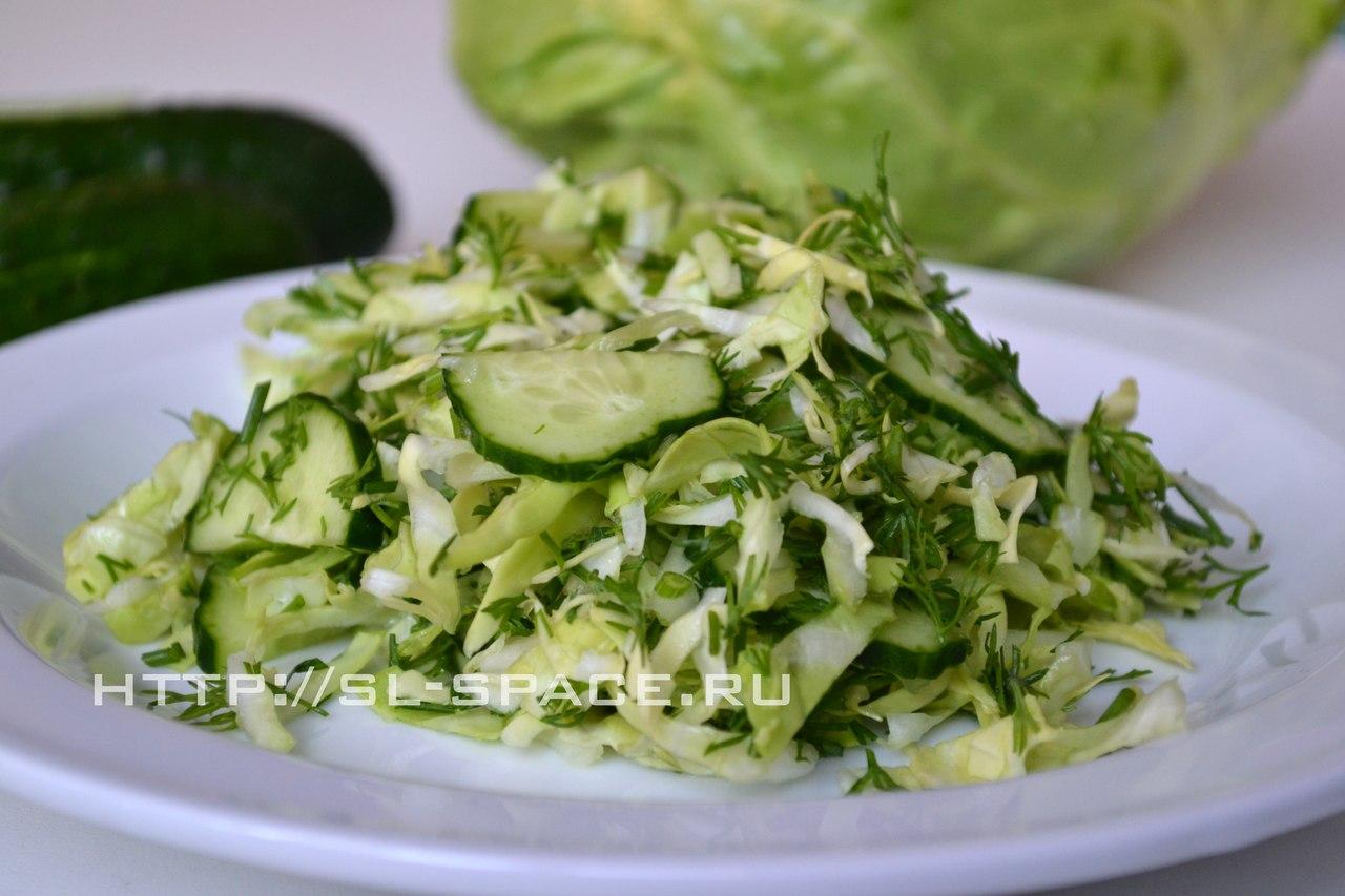 салат свежий огурец с капустой и
