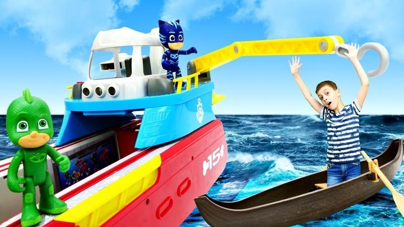 Герои в масках на тонущем корабле. Спасаем Бен 10 и Лунную девочку! Мультики для детей