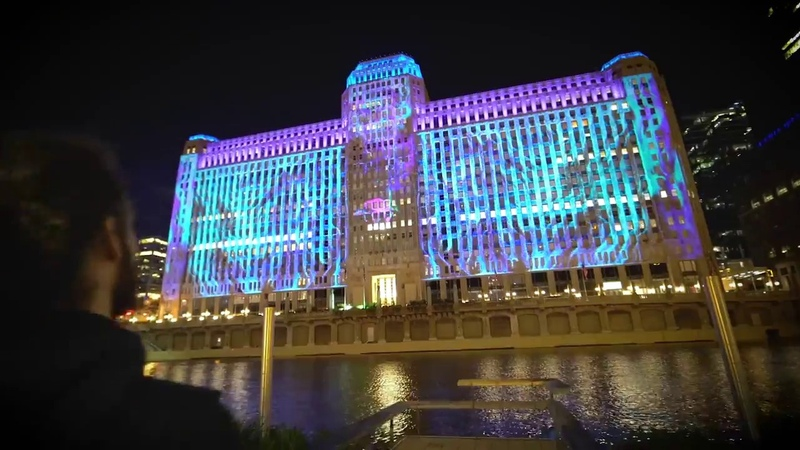Art on theMART installation by Obscura Digital