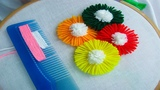 Hand Embroidery Amazing Trick# Sewing hack with hair comb# Easy Flower Embroidery Trick