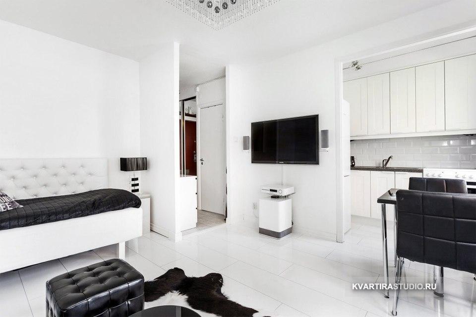 Черно-белый интерьер квартиры-студии 25 м в Стокгольме / Швеция - http://kvartirastudio.