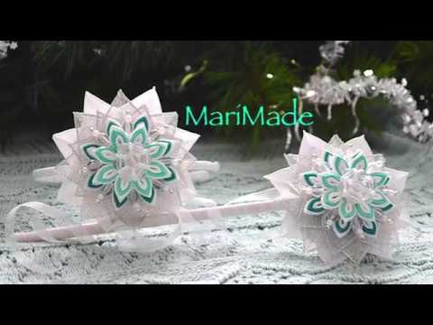 Канзаши Снежинки Ободок Волшебная Палочка Kanzashi Snowflake Headband