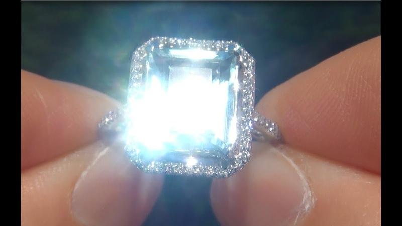 Estate 3.79 ct Natural Aquamarine Diamond 14k White Gold Vintage Cocktail Ring - A141701