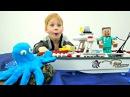 СТИВ Майнкрафт едет на рыбалку 🐟 Лего Лодка Игрушки 🚣 Развивающий мультик дл ...