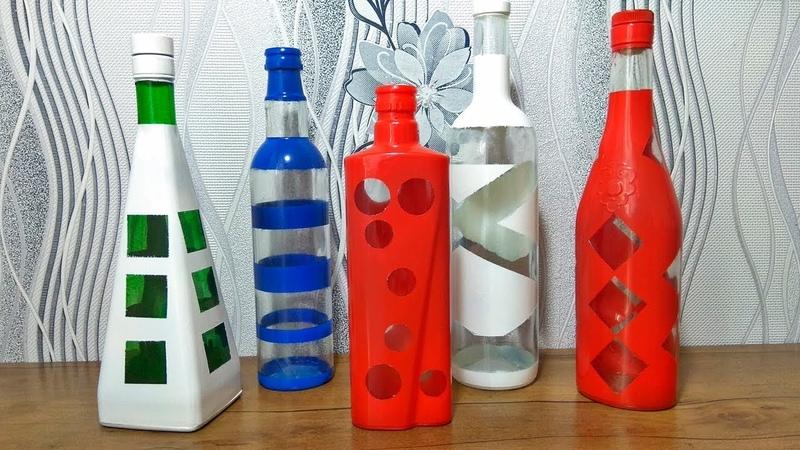 Простая идея декора бутылок краской. Идеи своими руками