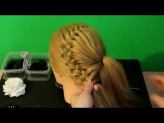 Как сделать ажурную косу с цветком из волос