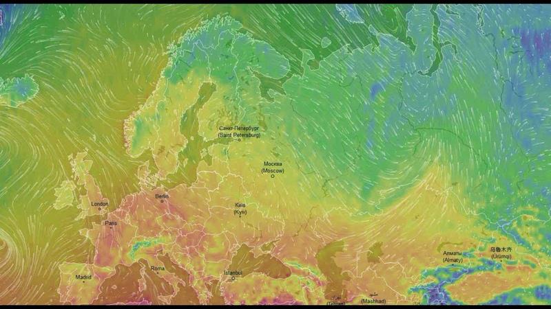 Движение воздушных масс воздуха на европейской территории России Октябрь 2018 год