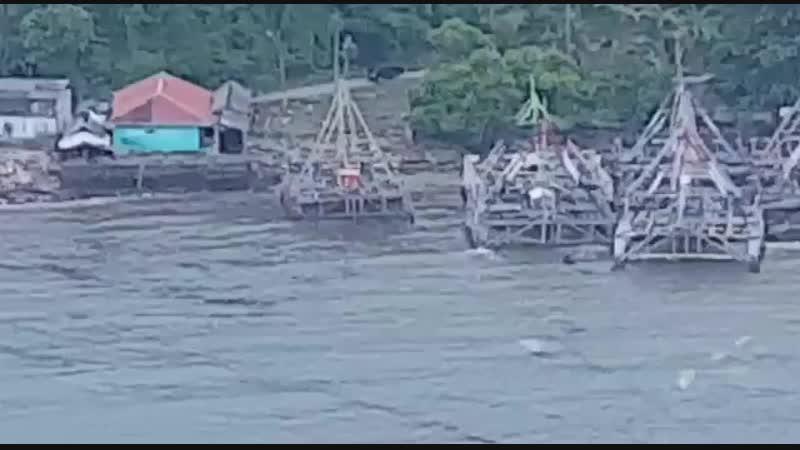 Pantauan udara daerah terdampak tsunami di Pantai Kalianda Kabupaten Lampung Selatan