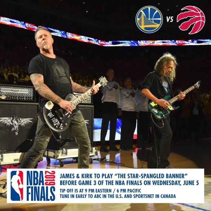 Metallica исполнит гимн США перед 3-м матчем финальной серии НБА