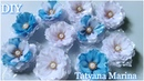 Цветы из атласной ленты 2.5см для начинающих /Канзаши МК/ DIY