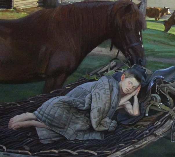Андрей Подшивалов,, Сон, 1м- 2,5м холст, масло. Все символично в полотне,, Сон Андрея Подшивалова. Лошадь, стоящая около ребёнка и охраняющая его сон. Молодая, красивая, здоровая лошадь. Она