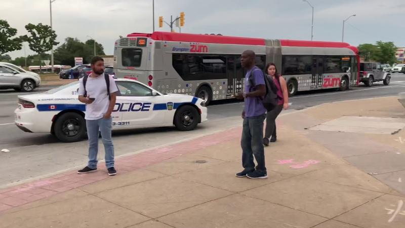 Canadian region of Peel police officers arresting an unruly man at Brampton Gateway bus terminal