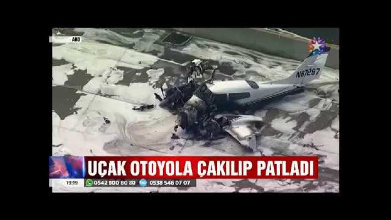 Otoyola çakılıp infilak eden uçaktan sağ çıktılar