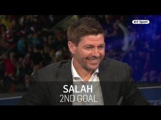 Steven Gerrard reacts to Mo Salah's Champions League masterclass against Roma.