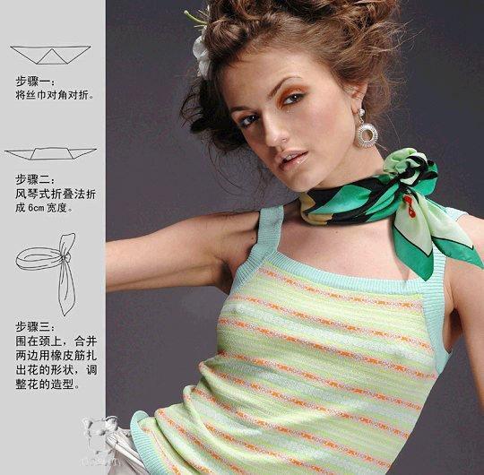Вы купили красивый шелковый платок, узнайте как разнообразно можно им себя украсить. Модницам на заметку.
