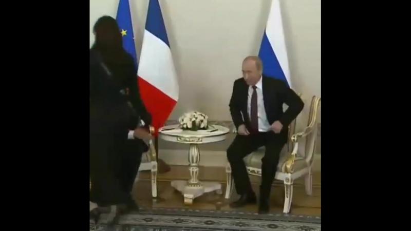 Встреча Путина и Макрона в Константиновском дворце в Стрельне.