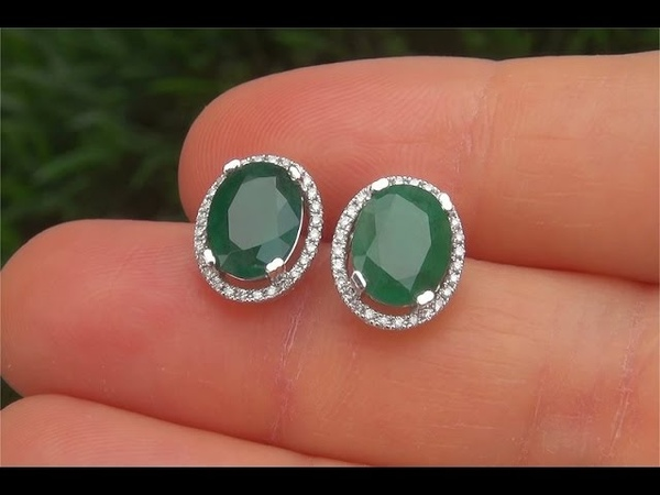 Estate Natural Colombian Emerald Diamond 14k White Gold Stud Earrings - A141714