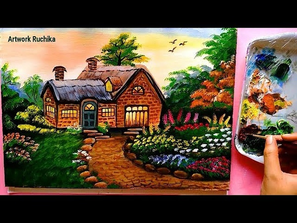 Beautiful House Painting | Acrylic Painting Tutorial | Nature Scenery Painting