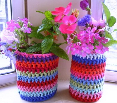 Вязание цветочного кашпо