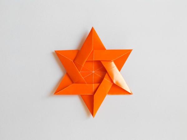 Звезда имеет шесть концов оригами, Star has six ends origami